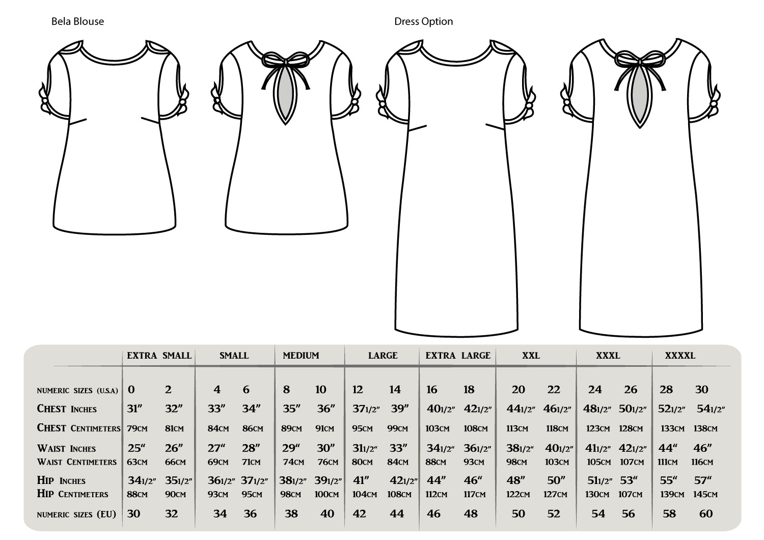 This easy to follow sewing pattern has two length options to choose from to create a blouse or dress.